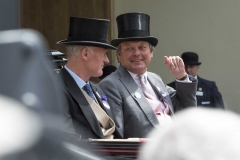WILLIAM HAGGAS (RIGHT) AND WILLIE MULLINS ARRIVE IN THE THIRD CARRIAGE OF THE ROYAL PROCESSION ON FINAL DAY OF MEETING.ASCOT 23-6-18.Photo © George Selwyn +44 (0)7967 030722116 Wellington Parade Kent UK CT14 8AF.