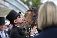 AUSTRALIAN AND PART OWNER, DARREN WILLIAMS EMBRACES MERCANT NAVY IN THE WINNERS ENCLOSURE.ASCOT 23-6-18.Photo © George Selwyn +44 (0)7967 030722116 Wellington Parade Kent UK CT14 8AF.