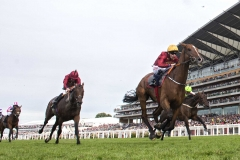 PALLASATOR WINNING THE QUEEN ALEXANDRA STAKES FROM, RENNETI AND COUNT OCTAVE (LEFT).ASCOT 23-6-18.Photo © George Selwyn +44 (0)7967 030722116 Wellington Parade Kent UK CT14 8AF.