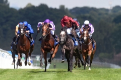 ROARING LION MAROON COLOURS WINNING ECLIPSE IN TIGHT FINISHE FROM SAXON WARRIOR.SANDOWN 7-7-18.Photo © George Selwyn +44 (0)7967 030722116 Wellington Parade Kent UK CT14 8AF.