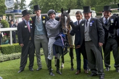 SOLDIERS CALL WITH CONNECTIONS INCLUDING WINNING TRAINER ARCHIE WATSON (SECOND LEFT).ASCOT 23-6-18.Photo © George Selwyn +44 (0)7967 030722116 Wellington Parade Kent UK CT14 8AF.
